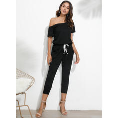 Solid One Shoulder Short Sleeves Casual Jumpsuit