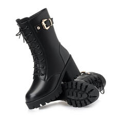 Women's PU Cone Heel Mid-Calf Boots Round Toe Martin Boots With Buckle Zipper Lace-up Solid Color shoes