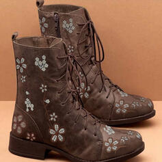 Women's PU Low Heel Mid-Calf Boots With Lace-up Flower shoes