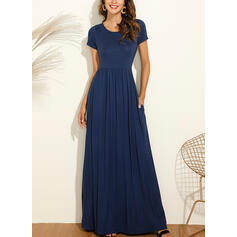 Solid Short Sleeves A-line Little Black/Casual Maxi Dresses