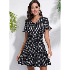 PolkaDot Short Sleeves A-line Above Knee Casual Dresses