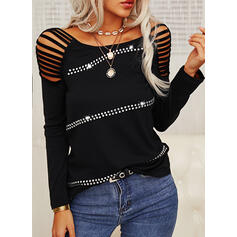 Solid Sequins Cold Shoulder Long Sleeves Sexy Blouses