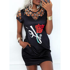 Print/Floral/Hollow-out Short Sleeves Bodycon Above Knee Casual Dresses