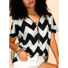 Color Block V-Neck Short Sleeves Casual Knit Blouses