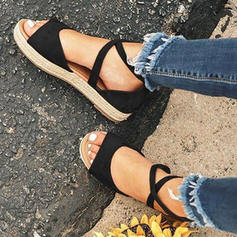 PU Flat Heel Sandals Flats Peep Toe With Lace-up shoes
