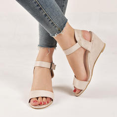 Women's Cloth Wedge Heel Sandals Peep Toe With Buckle shoes