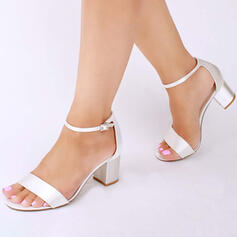 Women's Satin Chunky Heel Sandals Peep Toe With Buckle shoes