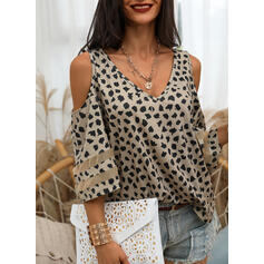 Print Cold Shoulder 3/4 Sleeves Casual Blouses