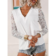 Solid Lace V-Neck Long Sleeves Puff Sleeve Elegant Blouses