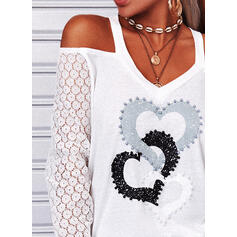 Print Heart Lace Cold Shoulder Long Sleeves Casual Blouses