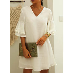 Solid 3/4 Sleeves/Flare Sleeves Shift Above Knee Casual/Elegant Dresses