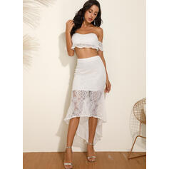 Lace/Solid Short Sleeves Sheath Asymmetrical Sexy/Casual Dresses