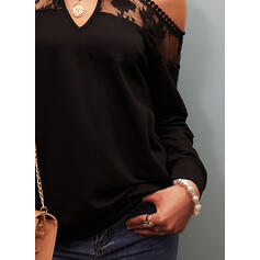 Solid Lace Cold Shoulder Long Sleeves Cold Shoulder Sleeve Casual Sexy Blouses