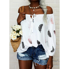 Print Feather Off the Shoulder Long Sleeves Raglan Sleeve Casual Blouses