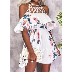 Print/Floral/Hollow-out 1/2 Sleeves A-line Above Knee Casual Skater Dresses