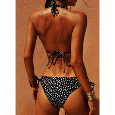Dot Knotted Halter Sexy Bikinis Swimsuits