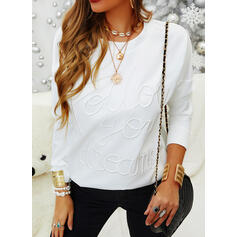 Solid Figure Round Neck Long Sleeves Casual T-shirts