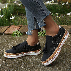 Women's PU Flat Heel Flats With Hollow-out Tassel shoes