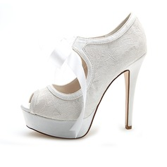 Women's Lace Stiletto Heel Peep Toe Pumps Sandals With Lace-up
