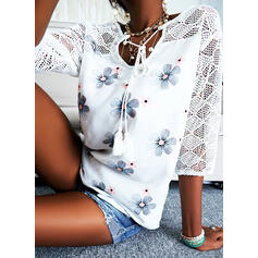 Print Floral Lace V-Neck 3/4 Sleeves Dropped Shoulder Casual Blouses