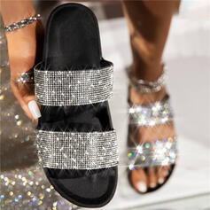 Women's PU Flat Heel Sandals Platform Peep Toe Slippers With Rhinestone Hollow-out shoes
