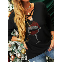 Print Sequins V-Neck Long Sleeves Casual Christmas Knit Blouses