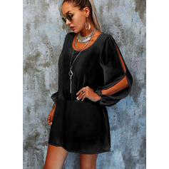 Solid/Backless Long Sleeves/Split Sleeve Shift Above Knee Little Black/Casual/Vacation Tunic Dresses