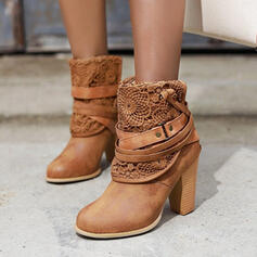 Women's Leatherette Chunky Heel Ankle Boots Pointed Toe With Rivet Lace shoes