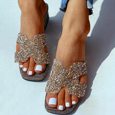 Women's PU Chunky Heel Sandals Wedges Peep Toe Slippers With Rhinestone shoes