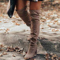 Women's Suede Chunky Heel Over The Knee Boots Pointed Toe With Lace-up Solid Color shoes