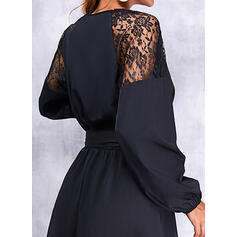 Solid Lace Long Sleeves A-line Above Knee Little Black/Casual Skater Dresses