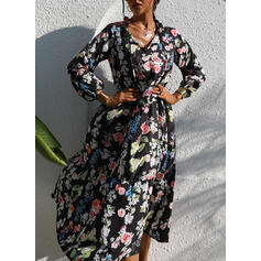 Print/Floral 1/2 Sleeves A-line Casual/Vacation Midi Dresses