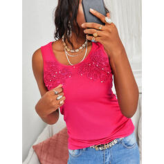 Beaded Lace Solid Round Neck Sleeveless Tank Tops