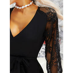 Lace/Solid Long Sleeves Sheath Knee Length Little Black/Casual Dresses