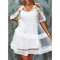 Lace/Solid 1/2 Sleeves A-line Above Knee Sexy Skater Dresses