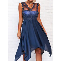 Lace/Solid Sleeveless A-line Asymmetrical Casual Skater Dresses