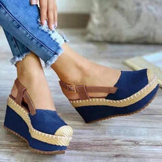 Women's Cloth Wedge Heel Sandals Wedges Round Toe With Buckle Split Joint Splice Color shoes