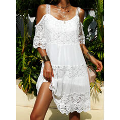 Lace Cold Shoulder Sleeve Shift Above Knee Casual/Vacation Dresses