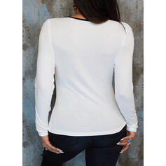 Print Figure Round Neck Long Sleeves Casual Knit Blouses