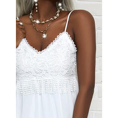 Solid Lace Sleeveless Shift Above Knee Little Black/Casual/Vacation Slip Dresses