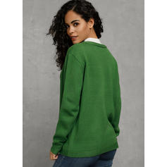 Solid Cable-knit Casual Sweaters