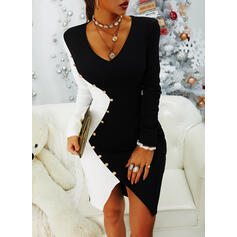 Color Block Long Sleeves Bodycon Knee Length Party Dresses