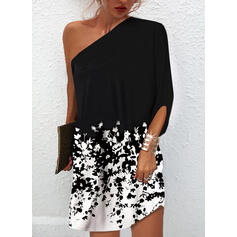 Print/Floral 1/2 Sleeves Bat Sleeve Shift Above Knee Casual Dresses
