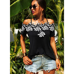 Embroidery Cold Shoulder Short Sleeves Casual Blouses