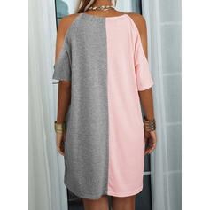 Color Block 1/2 Sleeves Shift Above Knee Casual Dresses
