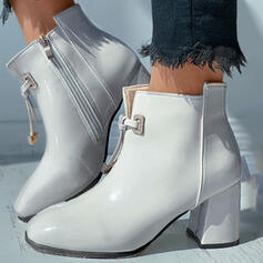 Women's PU Chunky Heel Ankle Boots Martin Boots Square Toe With Zipper Lace-up shoes