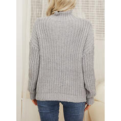 Solid Chunky knit Turtleneck Casual Sweaters