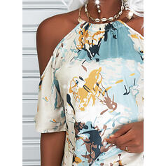 Print Cold Shoulder 1/2 Sleeves Casual Blouses