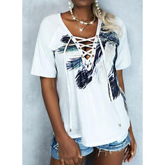 Print Feather V-Neck Short Sleeves Casual Blouses