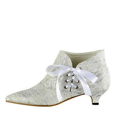 Women's Lace Low Heel Boots Closed Toe With Lace-up